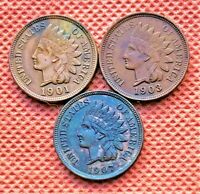 1901, 1903, 1907 INDIAN HEAD PENNIES, CENTS, LIBERTY SHOWING, HIGH GRADE COINS 1