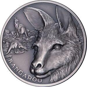 2021 Niue $1 Wildlife Up Close Kangaroo High Relief 1 oz Silver Coin - 750 Made