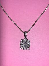 Diamond Cluster Sterling Silver 925 Circle Necklace Chain 3D Pendant Xmas