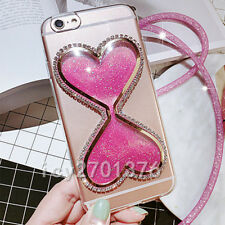 Bling Glitter Quicksand Hourglass Soft Back Phone Dynamic Cover Case & strap I