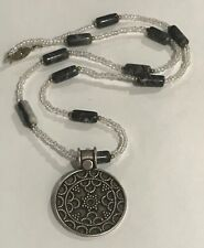 Large Hand Made Solid 925 Sterling Silver  Round Medallion Pendant Marble Beads