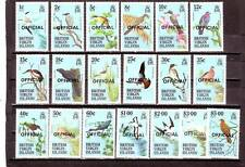 a130 - BRITISH VIRGIN ISL - SGO16-O34 MNH 1986 BIRDS OVPT OFFICIAL