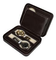4 Watch Dark Brown Leather Travel Case Portable Zippered Storage Organizer 1150