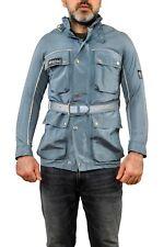 BELSTAFF Grey Blue Belted Effect Buckle Collar Biker Motorcycle Jacket S Vtg 90s