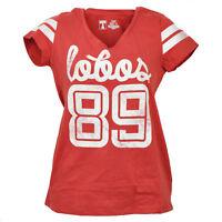 NCAA New Mexico Lobos V Neck Red Striped Short Sleeve Tshirt Tee Womens Sports