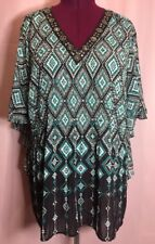 Catherines 3X 4X? 26W 28W Diamond Black Teal Floral Top Crinkle Blouse C15