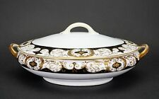Noritake #20056 Oval Covered Black and Gold Vegetable Bowl