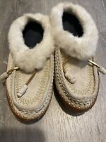 Lands' End Women's Suede Leather Shearling Fur Moccasin Slipper Size 10B Beige