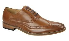 MENS SIZE 6 7 8 9 10 11 12 TAN BROWN FAUX LEATHER POINTED BROGUE LACE UP SHOES