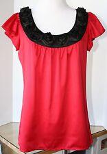 Sunny Leigh Red Silky Top Blouse Black Rosette Satin Collar Petite PP Macy's