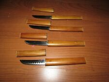 Lot of 4 used small Japanese steak knives all wood handles/sheaths stainless