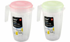 2 x Plastic Multi Purpose 2L Jug Pitcher Coloured Lid for Water Juice Drink ZOOM