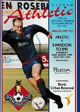 Football Programme>OLDHAM ATHLETIC v SWINDON TOWN Aug 1989
