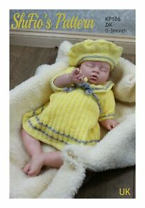 Knitting Pattern for Baby Sailor Dress & Beret, 0 to 3 Months KP186