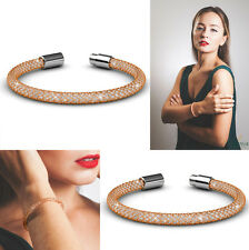 """New! 7"""" Rose Gold Plated Mesh Bangle Bracelet w/ Crystals by Matashi"""