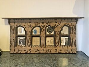Vintage Antique French Arts and Crafts Carved Pokerwork Large Wooden Frame