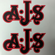 AJS London Stickers x2 A.J.S Decal Logo Tank Motorcycle Vintage Black & RED B