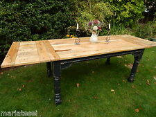 Large Rustic Oak Finish Farmhouse Kitchen Dining Table Painted EXTENDING 8.5ft