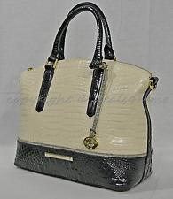 Brahmin Duxbury Dome Ivory Tri-texture Leather Satchel Bag Checkbook Wallet
