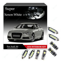 For Audi A6 C6 S6 Full LED Premium Pack Interior Kit 14 Bulb White Error Free 4F
