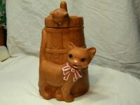 Vintage Twin Winton Butter Churn Cookie Jar with Cute Cats Brown w/ Pink Ribbon