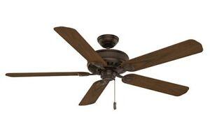 "Casablanca 55001 Ainsworth 60"" Brushed Cocoa Ceiling Fan with Dark Walnut Blades"