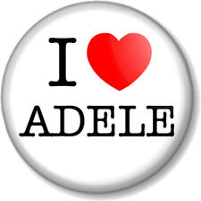 "I Love / Heart ADELE 25mm 1"" Pin Button Badge Singer Songwriter Brits 21 19 1988"