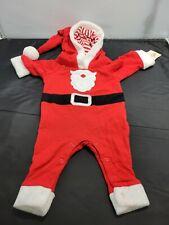 Cat & Jack Newborn Santa Costume Red White Black Snaps One Piece Hooded 1264