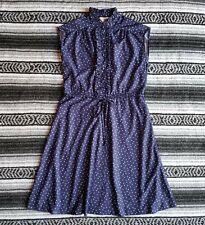 Vtg Sears Sz L Knee Length Sleeveless Ruffle A-Line Dress Blue White Floral