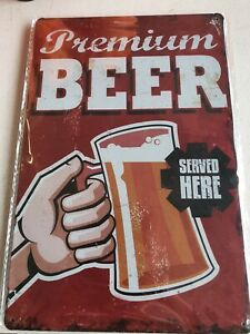 PREMIUM BEER RETRO METAL TIN NOVELTY NUMBER LICENSE PLATE WALL SIGN GIFT - NEW