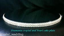 Ivory pearl & real glass crystal Diamante Rhinestone cake stand platform plate
