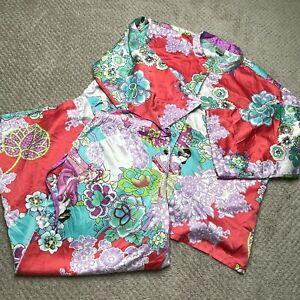 Natori Pajama Set Large L Purple Asian Floral Kimono Top Pants Sleepwear Satin