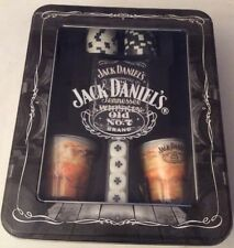Jack Daniel's Old No.7 Brand-2 Glasses-Poker Chips-Playing Cards-Poker Dice-Tin