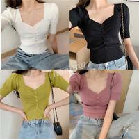 Korean Women Knit Button Puff Sleeve V-neck Slim Summer Club T-shirt Tops Blouse