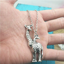 Giraffe mother animal silver Necklace pendant ornament ,creative jewelry Gifts