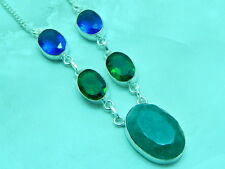 Dyed Emerald GemStone Necklace .925 Sterling Silver Plated Jewelry