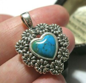 Sterling Silver Real Turquoise Gem Stone Daisy Flower Heart Necklace PENDANT