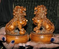 Old china Boxwood wood master hand carved foo dog lion rich animal statue pair A