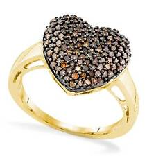 Chocolate Brown Diamond Heart Ring 10K Yellow Gold .60ct Nice Size Cluster