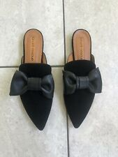 Andre Assous Black Leather Pointed Mule Flats Sz 9