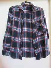 Zara Oversize Blue Red & White Check Shirt in Size XS