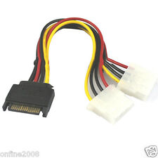 15 Pin SATA Male to 2 Female 4 Pin Molex Female IDE HDD Power Hard Drive Cable