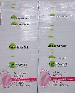 GARNIER MOISTURE MATCH CREAM MOISTURISER DRY TO VERY DRY SKIN SACHETS 70 x 1.5ml