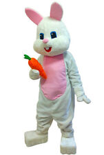 Bunny Rabbit White & Pink Easter Cute Mascot Costume Adult Size Hot Sale