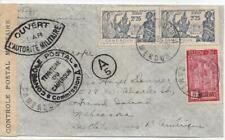 French Cameroun 1939 Ebolova Censored Cover to Nebraska with 3 Stamps