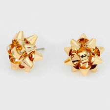 "Bow Christmas Earrings Ribbon Metal 5/8"" Stud Holiday Jewelry GOLD Party"