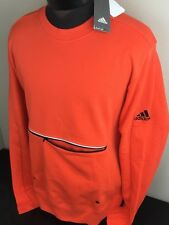 Adidas Sweatshirt French Terry Crew FT LS Energy Orange Long Sleeve Athletic NWT