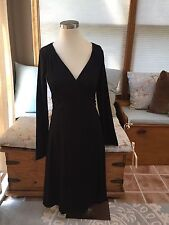 NEW NWOT Eddie Bauer Black Long Sleeve Surplice Empire Dress Small Lovely!