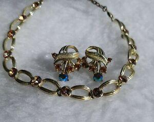Vintage Rhinestone & AB Crystal Necklace & Screw Back Earrings