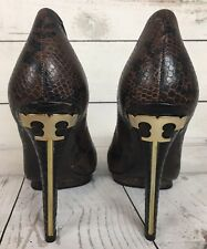 Tory Burch Jude Snake Embossed Pumps Gold Logo Hardware Sz 8.5 M